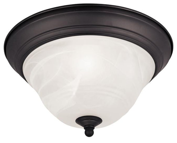 Wensley One-Light Indoor Flush-Mount Ceiling Fixture, Oil Rubbed Bronze Finish with White Alabaster Glass - Lighting Getz