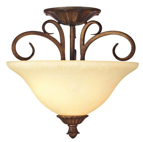 Regal Springs Two-Light Indoor Semi-Flush Ceiling Fixture, Ebony Gold Finish with Burnt Scavo Glass