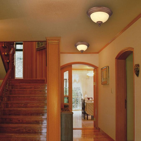 Regal Springs Two-Light Indoor Flush-Mount Ceiling Fixture, Ebony Gold Finish with Burnt Scavo Glass - Lighting Getz