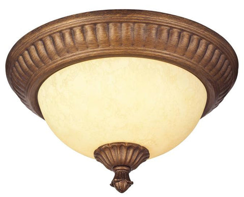 Regal Springs Two-Light Indoor Flush-Mount Ceiling Fixture, Ebony Gold Finish with Burnt Scavo Glass
