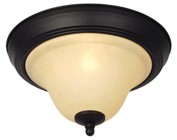 Elena One-Light Indoor Ceiling Fixture, Dark Bronze Finish with Antique Amber Glass - Lighting Getz