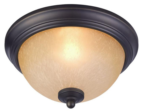 Chapel Hill One-Light Indoor Ceiling Fixture, Oil Rubbed Bronze Finish with Antique Amber Scavo Glass - Lighting Getz