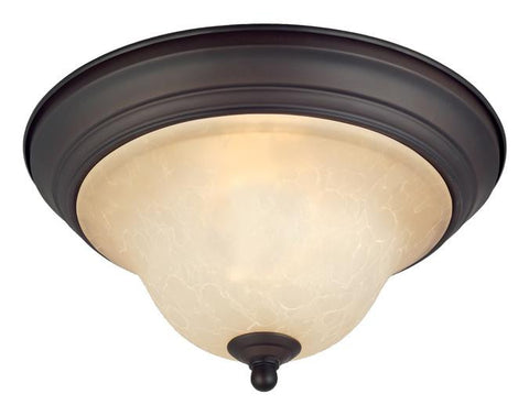 Trinity II One-Light Indoor Ceiling Fixture, Oil Rubbed Bronze Finish with Aged Alabaster Glass
