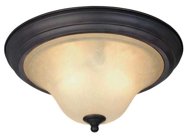 Trinity II Two-Light Indoor Ceiling Fixture, Oil Rubbed Bronze Finish with Aged Alabaster Glass - Lighting Getz