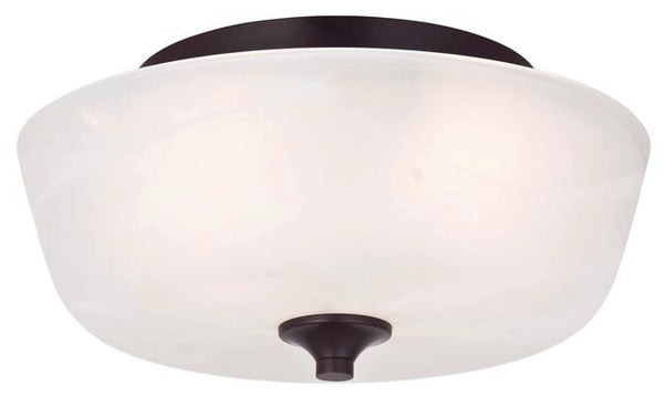 Treebridge Station Two-Light Indoor Flush Ceiling Fixture, Espresso Finish with White Alabaster Glass - Lighting Getz
