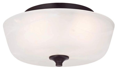 Treebridge Station Two-Light Indoor Flush Ceiling Fixture, Espresso Finish with White Alabaster Glass