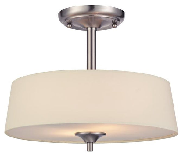 Parker Mews Two-Light Semi-Flush Ceiling Fixture, Brushed Nickel Finish with White Linen Fabric Shade - Lighting Getz