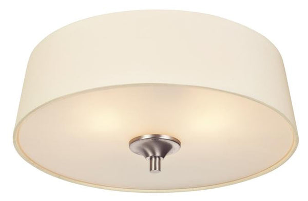 Parker Mews Two-Light Indoor Flush Ceiling Fixture, Brushed Nickel Finish with White Linen Fabric Shade - Lighting Getz