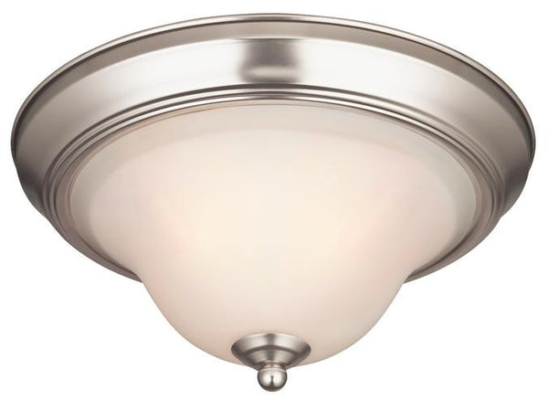 Swanstone One-Light Indoor Ceiling Fixture, Satin Nickel Finish with White Opal Glass - Lighting Getz