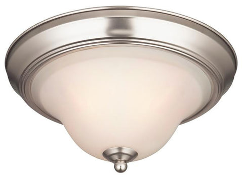 Swanstone One-Light Indoor Ceiling Fixture, Satin Nickel Finish with White Opal Glass