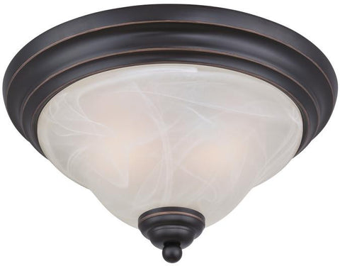 Pacific Falls Two-Light Indoor Flush Ceiling Fixture, Amber Bronze Finish with White Alabaster Glass
