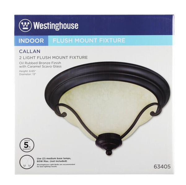 Callan Two-Light Indoor Flush Ceiling Fixture, Oil Rubbed Bronze Finish with Caramel Scavo Glass - Lighting Getz