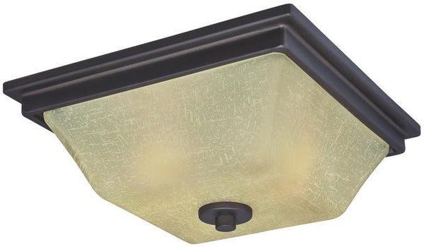 Ewing Two-Light Indoor Flush Ceiling Fixture, Oil Rubbed Bronze Finish with Amber Linen Glass - Lighting Getz