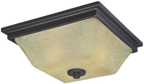 Ewing Two-Light Indoor Flush Ceiling Fixture, Oil Rubbed Bronze Finish with Amber Linen Glass