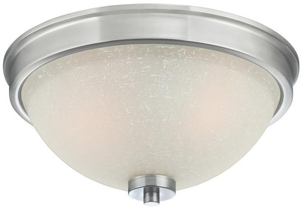 Karah Two-Light Indoor Flush Ceiling Fixture, Brushed Nickel Finish with White Linen Glass - Lighting Getz
