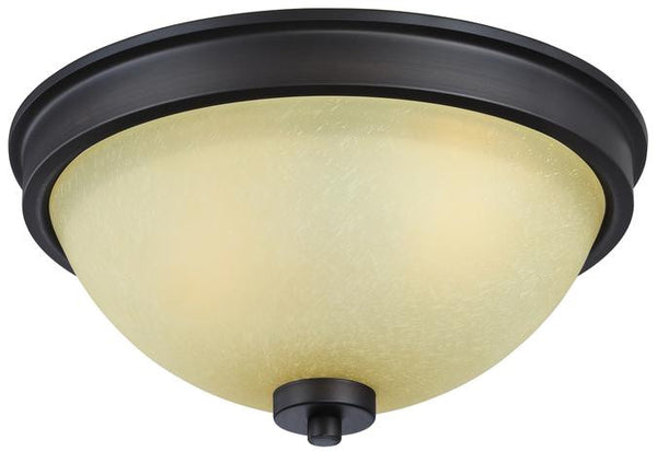 Karah Two-Light Indoor Flush Ceiling Fixture, Oil Rubbed Bronze Finish with Aged Amber Scavo Glass - Lighting Getz