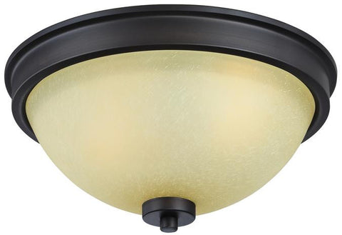 Karah Two-Light Indoor Flush Ceiling Fixture, Oil Rubbed Bronze Finish with Aged Amber Scavo Glass