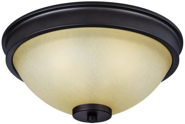 Karah Three-Light Indoor Flush Ceiling Fixture, Oil Rubbed Bronze Finish with Aged Amber Scavo Glass - Lighting Getz