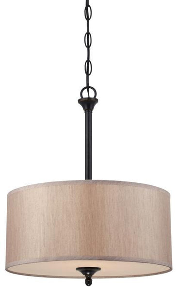 Packard Two-Light Convertible Pendant/Semi-Flush Ceiling Fixture, Amber Bronze Finish with Beige Fabric Shade and Frosted Glass Panel - Lighting Getz