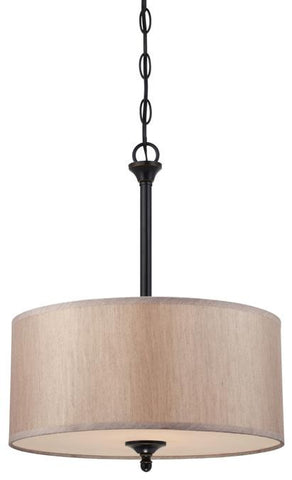 Packard Two-Light Convertible Pendant/Semi-Flush Ceiling Fixture, Amber Bronze Finish with Beige Fabric Shade and Frosted Glass Panel