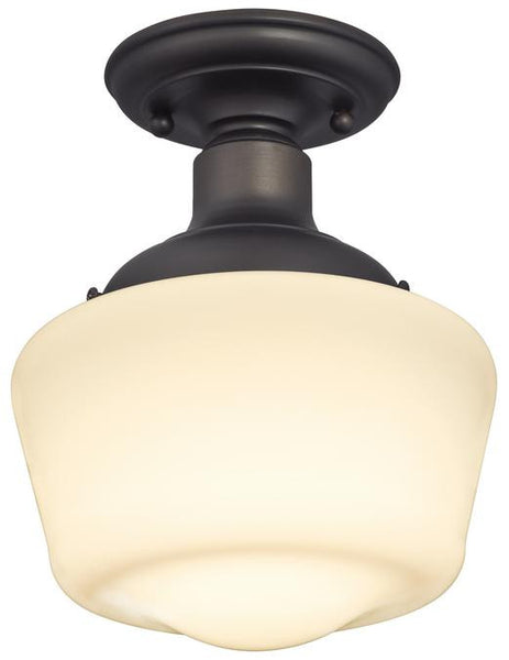 Scholar One-Light Indoor Semi-Flush Ceiling Fixture, Oil Rubbed Bronze Finish with White Opal Glass - Lighting Getz