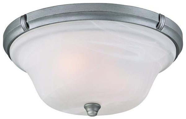 Tolbut Two-Light Indoor Flush Ceiling Fixture, Antique Silver Finish with White Alabaster Glass - Lighting Getz