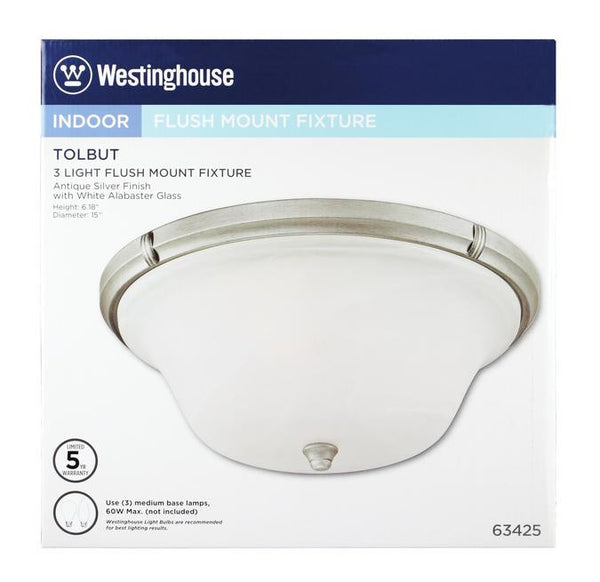 Tolbut Three-Light Indoor Flush Ceiling Fixture, Antique Silver Finish with White Alabaster Glass - Lighting Getz