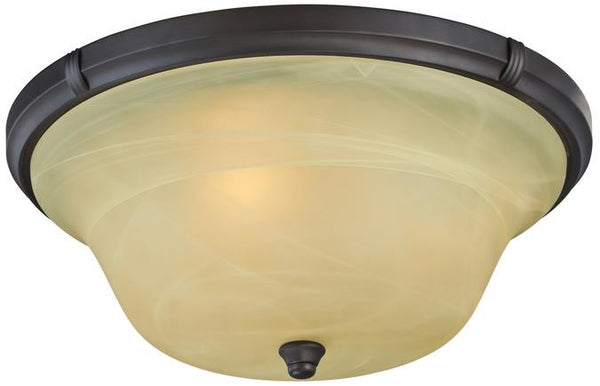 Tolbut Three-Light Indoor Flush Ceiling Fixture, Oil Rubbed Bronze Finish with Amber Alabaster Glass - Lighting Getz