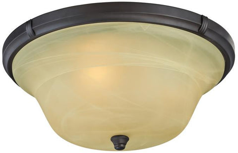 Tolbut Three-Light Indoor Flush Ceiling Fixture, Oil Rubbed Bronze Finish with Amber Alabaster Glass