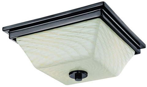 Wilkes Two-Light Indoor Flush Ceiling Fixture, Gun Metal Finish with Lunar Weave Glass