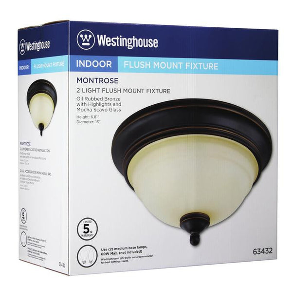 Montrose Two-Light Indoor Flush Ceiling Fixture, Oil Rubbed Bronze Finish with Highlights and Mocha Scavo Glass - Lighting Getz