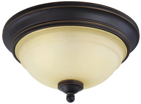 Montrose Two-Light Indoor Flush Ceiling Fixture, Oil Rubbed Bronze Finish with Highlights and Mocha Scavo Glass