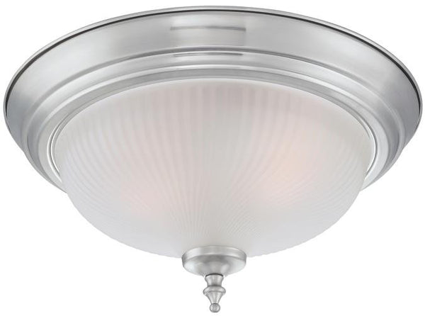Two-Light Indoor Flush Ceiling Fixture, Brushed Nickel Finish with Frosted Swirl Glass, 2-Pack - Lighting Getz