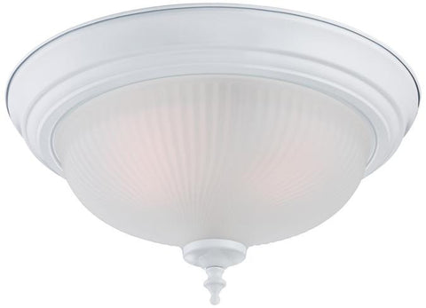 Two-Light Indoor Flush Ceiling Fixture, White Finish with Frosted Swirl Glass, 2-Pack