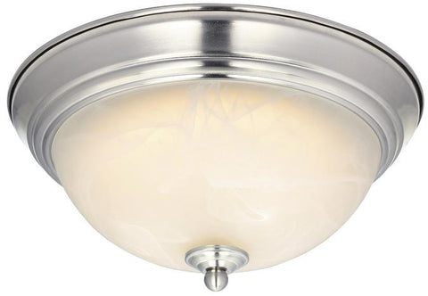 Dimmable LED Indoor Flush Mount Ceiling Fixture, Brushed Nickel Finish with White Alabaster Glass