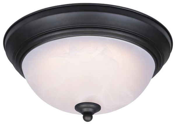Dimmable LED Indoor Flush Mount Ceiling Fixture, Oil Rubbed Bronze Finish with White Alabaster Glass - Lighting Getz