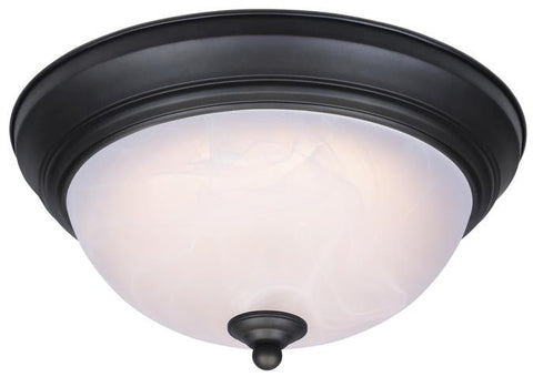 Dimmable LED Indoor Flush Mount Ceiling Fixture, Oil Rubbed Bronze Finish with White Alabaster Glass