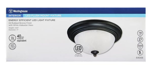 LED Indoor Flush Mount Ceiling Fixture, Oil Rubbed Bronze Finish with White Alabaster Glass - Lighting Getz
