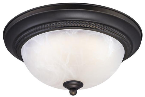 LED Indoor Flush Mount Ceiling Fixture, Oil Rubbed Bronze Finish with White Alabaster Glass
