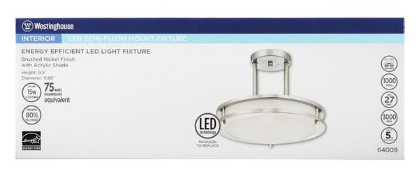 Dimmable LED Indoor Semi-Flush Mount Ceiling Fixture, Brushed Nickel Finish with White Acrylic Shade - Lighting Getz