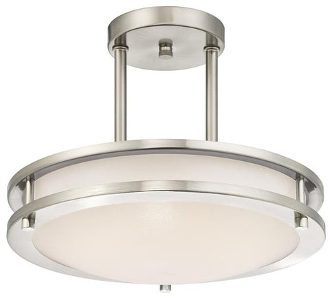 Dimmable LED Indoor Semi-Flush Mount Ceiling Fixture, Brushed Nickel Finish with White Acrylic Shade