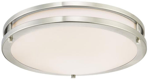 Dimmable LED Indoor Flush Mount Ceiling Fixture, Brushed Nickel Finish with White Acrylic Shade