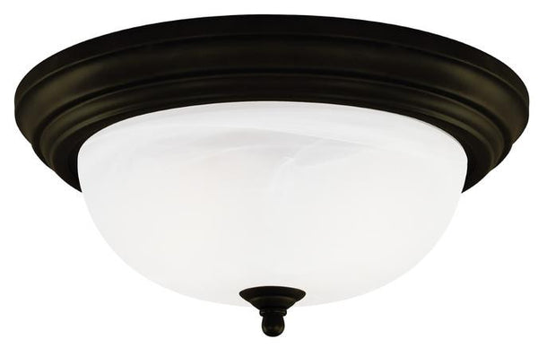 One-Light Indoor Flush-Mount Ceiling Fixture, Oil Rubbed Bronze Finish with Frosted White Alabaster Glass - Lighting Getz