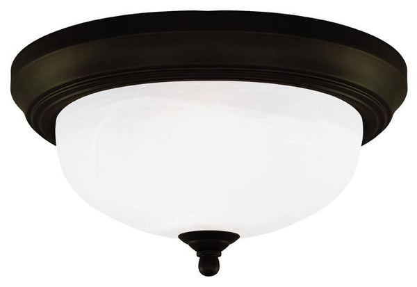 Two-Light Indoor Flush-Mount Ceiling Fixture, Oil Rubbed Bronze Finish with Frosted White Alabaster Glass - Lighting Getz