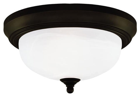 Two-Light Indoor Flush-Mount Ceiling Fixture, Oil Rubbed Bronze Finish with Frosted White Alabaster Glass