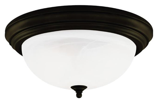 Three-Light Indoor Flush-Mount Ceiling Fixture, Oil Rubbed Bronze Finish with Frosted White Alabaster Glass - Lighting Getz