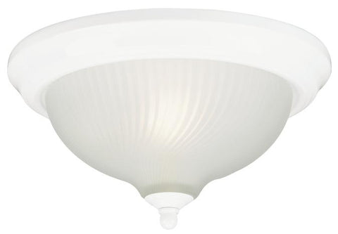 Two-Light Indoor Flush-Mount Ceiling Fixture, White Finish with Frosted Swirl Glass