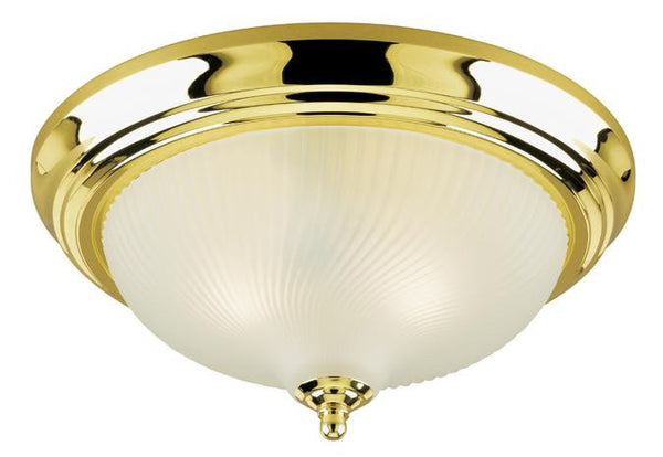 Two-Light Indoor Flush-Mount Ceiling Fixture, Polished Brass Finish with Frosted Swirl Glass - Lighting Getz