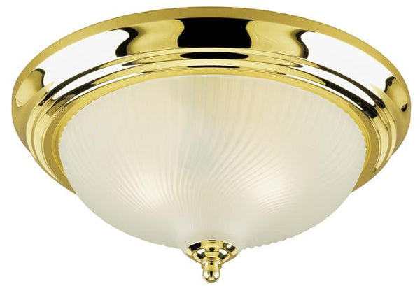 Three-Light Indoor Flush-Mount Ceiling Fixture, Polished Brass Finish with Frosted Swirl Glass - Lighting Getz