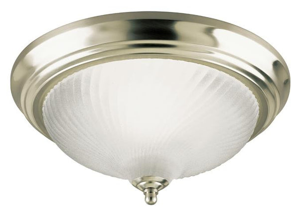 One-Light Indoor Flush-Mount Ceiling Fixture, Brushed Nickel Finish with Frosted Swirl Glass - Lighting Getz